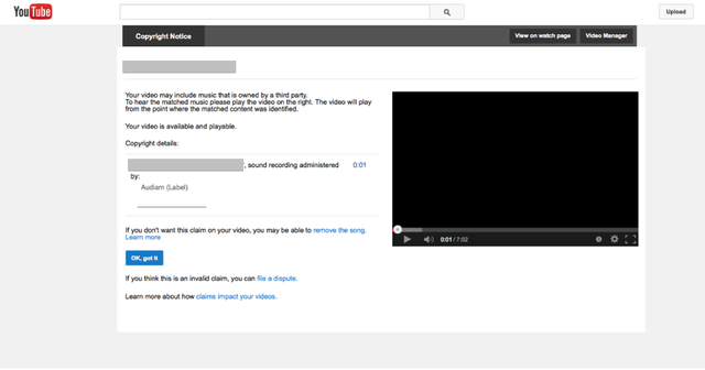 Channel Own Receive Copyright You On Notice A Youtube Your Did Video Audiam